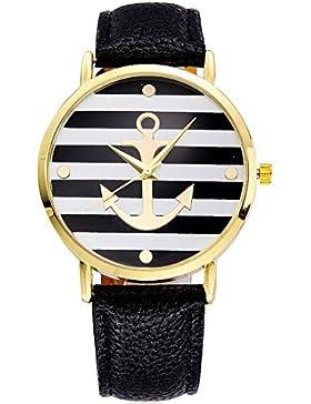 Souarts Damen Schwarz Streifen Armbanduhr Armreif Uhr mit Batterie Zifferblatt