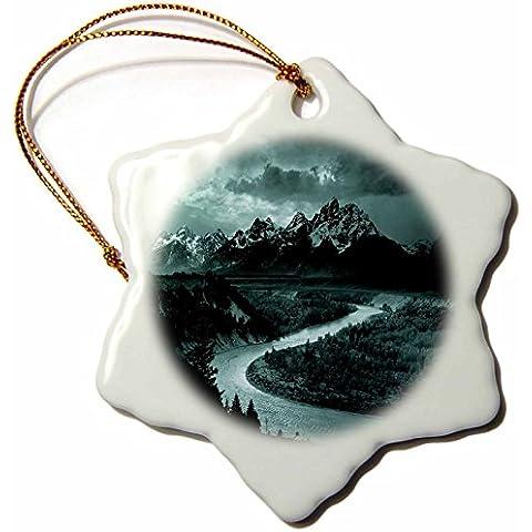 3dRose LLC Vintage Adams Tetons e il fiume Snake 3Fiocchi di neve decorazione in porcellana - Snake Porcellana