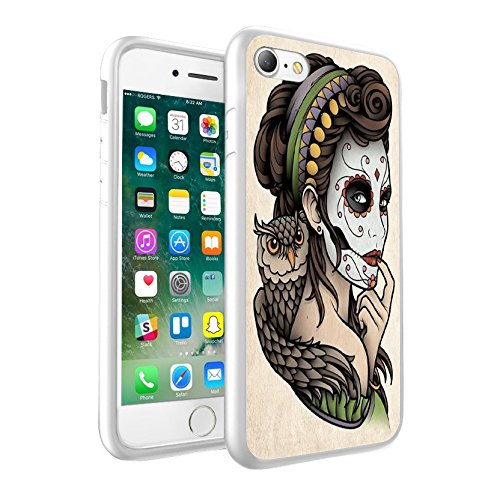 iPhone 5c Sweet Skull Woman With Owl design Case, Premium Lightweight Cover Skin, Unique Custom Cool Design Protective Hard back Slim Thin Fit PC Bumper Case Scratch-Resistant Cover for iPhone 5c - Sweet Skull Woman With Owl Cool Art 0008 (Bling Iphone 5c-skull Case)