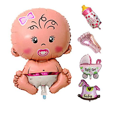 Minzhi 5 Pcs Baby Cartoon Dusche Luftballons Aufblasbare Heliumfolie Dekoration Junge M?dchen Geburtstagsparty