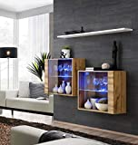 Juub Sideboard Kommode Schrank Anrichte Switch III Wotan Hochglanz PVC Push-Click LED - Switch III WTW
