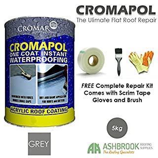 Cromapol | Acrylic Roof Coat | Waterproofing Roof Sealant | Three Sizes | Four Colours | FREE Complete Repair Kit | Grey 5 Kg