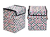 Super India Waterproof Foldable Washing Clothes Laundry Basket Bag Hamper Bin Storage Box with Closing Head/Hard Cardboard base inside with outer plastic paper colorful sheet (SMALL SIZE) RECTANGULAR