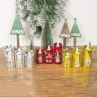 Angmile Vela de simulación Luz de Viento Tema de Navidad Velas Set Decoración 3 Unids/Set Tallado Candelabro de Santa Claus Luz