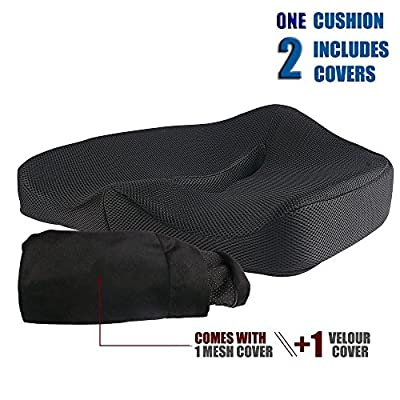 Jorlyen Coccyx Orthopedic Memory Foam Seat Cushion/ Car Seat Cushion/ Chair Cushion/ Prostate Cushion/ Hemorrhoid Cushion for Low Back Pain, Tailbone and Sciatica Relief - inexpensive UK light shop.