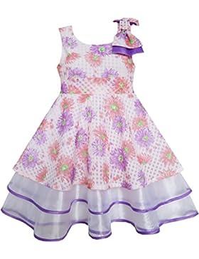 Mädchen Kleid Lila Blume Schnüren Trimmen Bogen Binden Ärmellos
