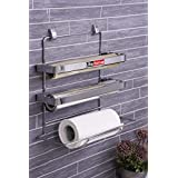 Lifetime Stainless Steel 3 In 1 Triple Paper Dispenser and Holder/Wrap Aluminium Foil and Kitchen Roll