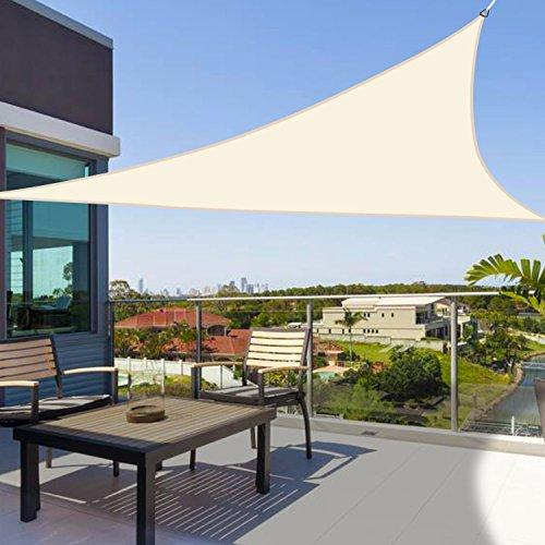 Greenbay - Dreieck 2x2x2m - Garten UV-beständig Sonnensegel Sonnenschutz Atmungsaktiv Schatten Segel für Balkon und Terrasse (Creme)