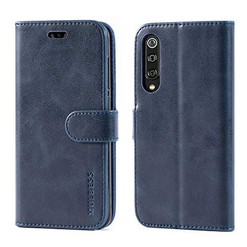 Mulbess Funda para Xiaomi Mi 9 SE, Funda Cartera Xiaomi Mi 9 SE, Funda Cuero con Tapa, Funda Libro para Xiaomi Mi 9 SE Case, Azul Marino