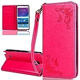 ISAKEN Compatibile con Samsung Galaxy Note 4 Custodia - Libro Flip Case Portafoglio Wallet Cover in PU Pelle Tinta Unita Custodia Embossed Rose Caso con Supporto di Stand/Carte Slot, Rose: Rossa