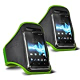ONX3 - TWIN PACK - Samsung Galaxy S3 Neo (Dual Sim) verstellbarem Schultergurt Jogging Wandern Gymnasium Sports Armband (Grün)