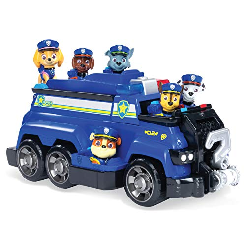 Paw Patrol 6052956 Chase's Total Team Rescue Police Cruiser Vehicle with 6 Pups, for Kids Aged 3 Years and Over, Multicolour