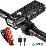 AGPTEK LED Fahrradbeleuchtung, USB aufladbar Frontlicht und 4 Lichtmodi Rücklicht Set, Ultra Hellen Sport und einfach zu montieren LED Fahrradlicht, für Nachtfahrer, Radfahren und Camping