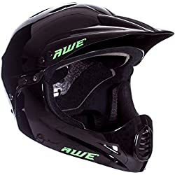 AWE - Casco integral para BMX, tamaño medio, 54-58 cm, color negro