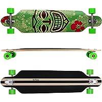FunTomia® Freerider Longboard 42 Pollici (107cm) 9 PLY di acero canadese / ABEC-11 cuscinetti / ruote 70x51mm (verde Hawaii) - Cuscinetto Ruota Corsa