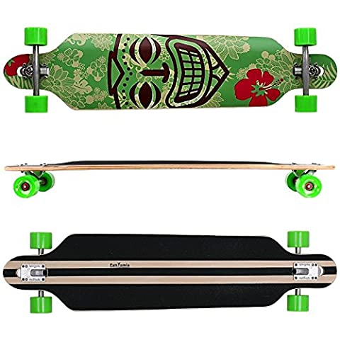 FunTomia® Freerider Longboard / Érable canadien 9 Plis / charge max 110 kg / Roues 70x51mm / Roulements ABEC-11 (Vert Hawaii / 2005)