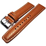Tan / Light Brown Buffalo Grain Genuine Leather Padded Watch Strap Band 18mm