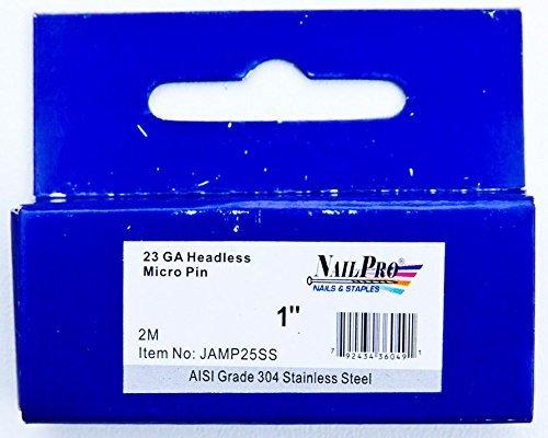 NailPRO Kopflose Mikrostifte, 23 Ga x 1,3 cm, Edelstahl, 2000 Stück, JAMP25SS, 1