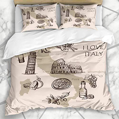 Soefipok Bettwäschesets Pisa Attraktion Kreative Karte Italien Italienisch Sightseeing Essen Abstrakt AST Stadt Gekritzel Europa Öl Mikrofaser Bettwäsche mit 2 Kissenbezügen (öl Attraktion)