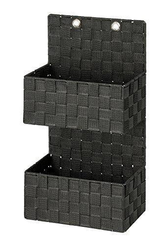Wenko 22073100 Adria Organiseur de Rangement avec 2 Étages Plastique Noir 28 x 28 x 13 cm