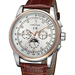 Forsining Men's High-end Automatic Moon Phase Leather Strap Analogue Collection Wrist Watch FSG319M3T4
