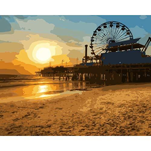 WACYDSD Puzzle 1000 Pezzi Puzzle 3D Ruota di Ferris della Spiaggia dell'Oceano di Tramonto di Los Angeles per La Parete del Salone