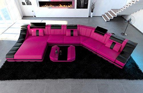 Mega Designer Leder Wohnlandschaft TURINO CL XL-Form pink-schwarz - 3