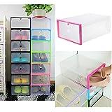 Transparente caja de zapatos de pl‡stico apilables Caso casero del almacenaje de contenedores Oficina Organizador