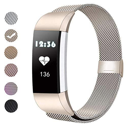 BeYself Kompatibel für Fitbit Charge 2 Armband, Metall Armband, Mesh Magnetverschluss Edelstahl Ersatzband für Fitbit Charge 2 Klein & Groß (S/Champagner)
