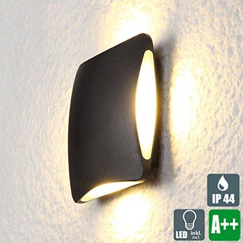 LED Wasserdichter Außenwandleuchte, Schwarz Modern Kreative Wandlampe, Platz Aluminium Design Strahler, Minimalistischen Innen und Außen Wandspot, 4×3W, 900 Lumen, Warmweiß-Licht, PC Lampenschirm