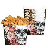 Whity Whiteman Halloween Dekoration Deko 6 Popcorn Schalen Becher Tüten mit Day of The Dead Totenköpfen, 40cl, 6 Bowls with Dios de los Muertos Skulls, ideal für Jede Halloween Party / Feier, Schwarz