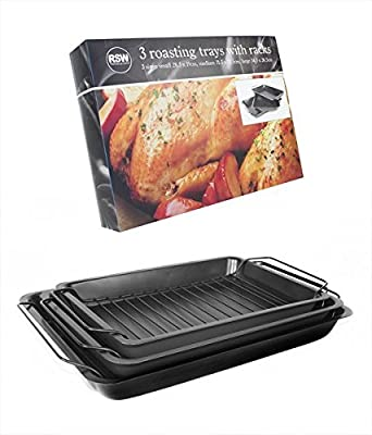 Pack of 3 Roasting Trays Handles Cooking Set Oven Dish Bakeware Non Stick Baking by RSW