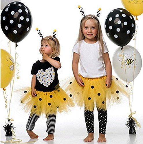 ja Mottoparty I 2 Teile Honigbiene Kostüm Tutu Haarband Schwarz Gelb Bunt Mädchen Kinder Geburtstag (Maya Kostüm Für Kinder)