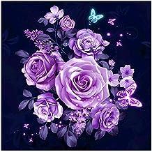 Pintura de diamante para bordar, diseño de flores moradas 5D, decoración de