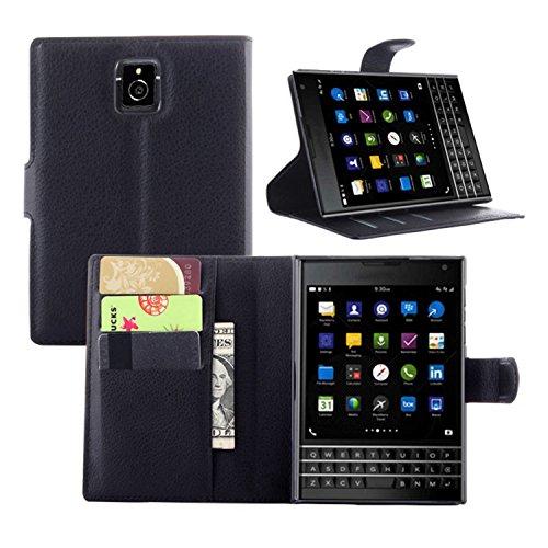 Tasche für BlackBerry Passport (Q30) Hülle, Ycloud PU Ledertasche Flip Cover Wallet Case Handyhülle mit Stand Function Credit Card Slots Bookstyle Purse Design schwarz