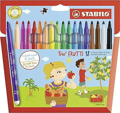 STABILO Trio Frutti - Étui carton de 18 feutres pointe moyenne (encre parfumée) - Coloris