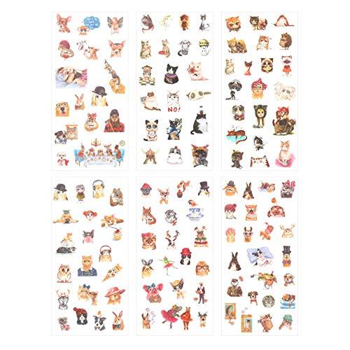 CAOLATOR 6 Blatt Tiere Sticker Kinder Mädchen Aufkleber Katzen Hund Hirsch Maus Hase Eule Muster aus PVC für Stickerbuch Tagebuch Fotoalbum Notizbuch Kalender Dekoration Scrapbooking -