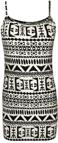 WearAll - Damen Bedruckt Ärmellos Träger Vest Top - 9 Mustern - Größen 36-42 Groß Aztec
