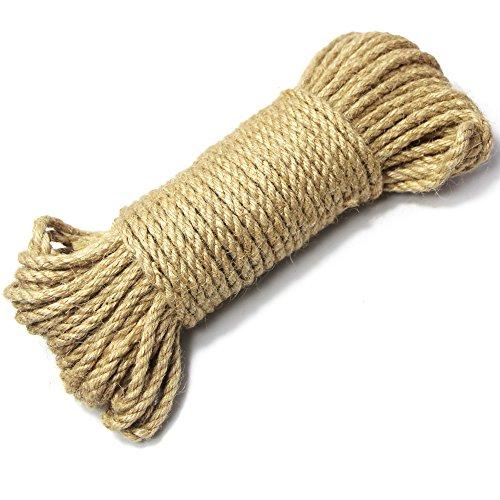 Edgeam durable Naturel Corde de jute 5mm corde en chanvre Decocord pour étiquettes, cadeaux de carte de vœux, cadeau, travaux manuels de bricolage, jardinage 20 Meters