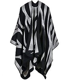 Mujer Capa Otoño Invierno Elegantes Moda Poncho Outerwear Estampadas Patrón Color Sólido Irregular Lindo Chic Anchos
