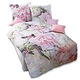 Pureday Bettwäsche Sommergarten - Blüten Fotodruck - 100% Baumwolle - Rosa