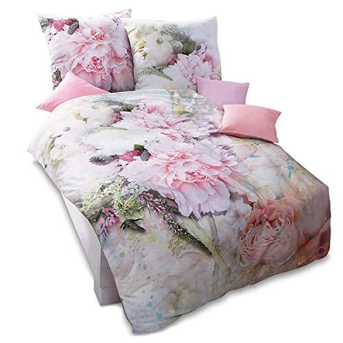 Pureday Bettwäsche Sommergarten - Blüten Fotodruck - 100{42596e66539ef6afe577ee04355e43f0b9bf56b7ed9db0ae4aebf6f29b94970b} Baumwolle - Rosa