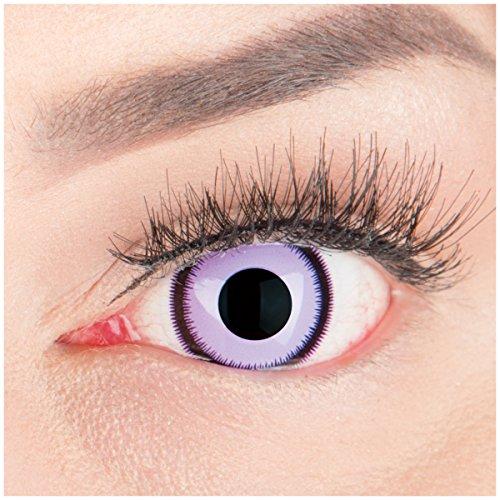 Farbige Mini Sclera Halloween Kontaktlinsen 'Purple Lunatic' - 17mm MeralenS Horror Lenses inkl. Behälter - 1Paar (2 ()