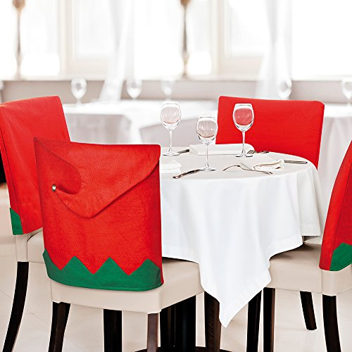 Schuhe Filz Elfen (eBuyGB Pack of 2 Festive Elf Hat Dining Chair Covers - Christmas Party Decoration (Elf)