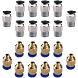 KINYOOO PC4-M6 Neumático Air Straight Quick Fitting (Pack de 10 piezas), PC4-M10 Straight Neumático Fitting (Pack de 10 piezas), para Push E3D-V6 Fitting Connector para Extrusora 3D Printer