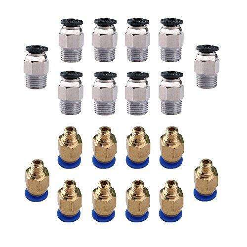 KINYOOO 10 PCS E3D V6/ PC4-M10 Stecker gerade Pneumatik PTFE Tube Push In Quick Fitting-Anschluss, 10 PCS 1.75mm 3D Drucker PC4-M6 Push in PTFE-Schlauch Tube pneumatische Steckanschlüsse.