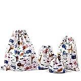 Amoyie – Set borse organizer portatutto con coulisse, 4 pezzi, borse da regalo bambini sacchi da biancheria, borsa per giocattoli spazzola, matite colorate, presentazione e confezione gioielli, caramella, borse a busta