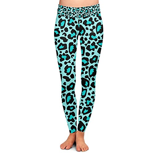 Queen of Cases Bright Leopard Print Teal - XL - Yoga Leggings (Teal Leopard Print)
