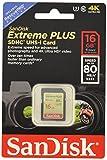 SanDisk Extreme Plus Scheda di Memoria SDHC 16 GB, 80 MB/s, Classe 10 UHS-I