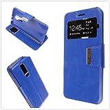 MISEMIYA - Hüllen Taschen Schalen Skins Cover für ZTE Blade A910 - Hüllen + gehärtetem Glas-Schutz, Cover View Buch Stütz,blau